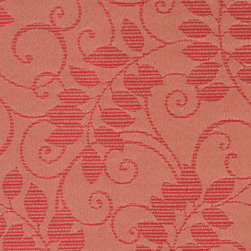 Red Vines And Leaves Outdoor Indoor Marine Upholstery Fabric By The Yard - This material is an upholstery grade outdoor and indoor fabric. It is stain, water, mildew, bacteria and fading resistant. It is also Scotchgarded for further stain resistance and durability. This material is woven for superior appearance.