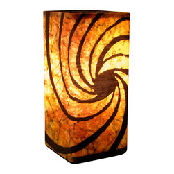 "funyhed BATIK - Batik Lamp ""Caramel Swirl"" - This unique designer batik lamp is made of my one of a kind handmade batik fabric. Rich golden yellows, browns, and hints of orange create a warm and soothing atmosphere. The diffused light shines beautifully through the batik fabric emphasizing every line and wax crackle."