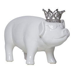 Interior Illusions - Piggy Bank With Crystal Crown and Glasses - Decorate your desk or bookshelves with the white Princess Piggy Bank With Glasses. The handmade ceramic piece features a removable coin stop, petite crystal crown and raised sunglass detail. The pig's white gloss glaze and intricately designed tiara make it a fun and polished addition to any children's room.