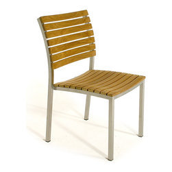 Westminster Teak Furniture - Vogue Teak and Stainless Steel Stacking Chair - The Vogue Stacking chair is constructed of solid teak wood mounted on a stainless steel frame. This teak wood chair is completely stackable requiring limited storage space when not in use.  Matches all standard height Westminster Teak Tables.