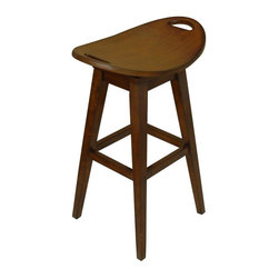Carolina Accents - Thoroughbred Backless Bar Stool in Cherry Finish w Swivel Seat - Enhanced by a vintage look design that explores antique inspired design elements and gives them a modern edge, this backless bar stool will be a spirited addition to your home's decor. Constructed of wood in cherry finish, the stool has a shaped swivel seat for added comfort and style. Return swivel seat. Made from wood. 23 in. L x 16 in. W x 32.38 in. HOur Thoroughbred Stools are replicas of an antique with modern flair. The curved seats are deceptively comfortable and feature a return swivel mechanism.