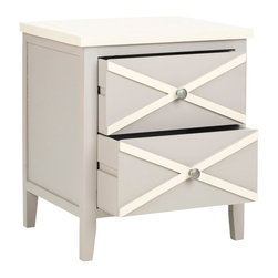 Safavieh - Safavieh Sherrilyn 18x15 2-Drawer Side Table in Grey - The classic style of the Sherrilyn 2-drawer side table gets updated in a fresh pale grey finish with charming contrasting white top and x-details on the drawers. A perfect companion bedside or beside a sofa. What's included: Side Table (1).