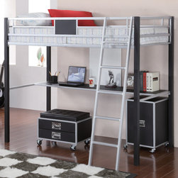 """Coaster - LeClair Twin Loft Bed, Metal/Black - A true space saver, this twin loft bed is made of solid metal finished in sleek silver and black. Below, this loft bed includes a desk shelf, as well as an included metal ladder. Pair this loft bed with the coordinating task chair and cabinet, to complete a functional and smart looking addition to the youth room in your home.; Contemporary Style; Finish/Color: Metal/Black; Bunkie Board Not Required; Dimensions: 78.25""""L x 57.75""""W x 67.75""""H"""