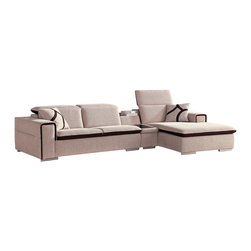 VIG Furniture - Harding Beige & Dark Micorofiber Fabric Sectional Sofa With Adjustable Headrests - The Harding sectional sofa will be a great addition to any living room decor that need's a touch of modern design. This sectional comes upholstered in a beautiful beige microfiber fabric. The entire sectional is accented by dark fabric that is featured in the cushions and throw pillows. High density foam is placed within the cushions for that extra added comfort. The sectional features adjustable headrests and a built in mini table between the sofa and chaise. Attached to the bottom are stainless steel legs with a polished finish.