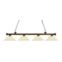Z-Lite - Brass Riviera 4 Light Chandelier with Golden Mottle Glass Shade - Decorative finials add distinction to this traditional styled Riviera Billiard. The four light Billiard fixture is finished in Antique Brass and paired wit golden Mottle Glass Shades