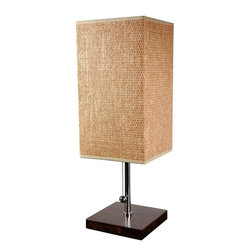 "Oriental Furniture - 22"" Nantou Lamp - This contemporary lamp features a textured woven shade, a metal frame, and a solid wood base. The sharp angles and contrasting materials are evocative of mid-century modernist design, and will add a sophisticated accent to your office or living room."