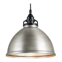 Kathy Kuo Home - Industrial Loft Brushed Nickel Adjustable Pendant - Brushed metal adds new life and feeling to just about any surface and this hanging brushed nickel finished pendant light is proof!  Whether hung in a row over a kitchen island or dining table, or just hanging solo in a living room, this  delivers serious style in a smart and simple package.