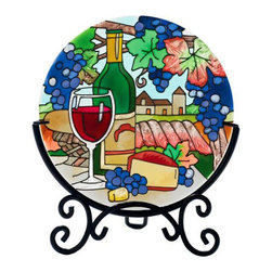 Joan Baker Designs - Wine Country Art Glass Tea Light Candleware Table Topper - Picnic in the arbor with this classic hand-painted art glass tea light holder featuring a tempting spread of wine and cheese under a trellis of ripe, blue grapes.