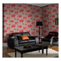 Graham & Brown - Fabulous Wallpaper - Fashion designer Julien MacDonald is renowned for his flamboyant designs on the catwalk, and his beautiful red floral wallpaper is as fabulous as its name suggests! The stunning line-drawn flowers feature metallic detailing and modern holographic effects, adding glamour to its elegant and stylish design. Lively and filled with sunshine, this design will work wherever you choose to place it. Pasting the wall instead of the paper means that its not only quicker to dress your wall, its also easier to remove when you want to strip them. The embossed texture also means that the surface is durable and washable giving you style substance and ease of use.