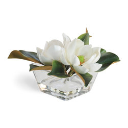 """Timeless Magnolia Bowl 10"""" Square - Timeless magnolias are the grand dames of the flower world. Ours – in bright white – lend an enduring beauty to any room. Fossilized specimens of Magnolia acuminata have been found dating to 20 million years ago, and of plants identifiably belonging to the Magnoliaceae dating to 95 million years ago. Needless to say, they're an extremely hearty flower. There's a reason the Julia Roberts movie about tough Southern women was called """"Steel Magnolias."""" Square glass bowl included."""