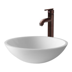 Vigo - VGT210 Flat Edged White Vessel Sink with Oil Rubbed Bronze Faucet - The VIGO Flat Edged White Phoenix Stone Glass Vessel Sink with modern Oil Rubbed Bronze Faucet is sure to update any bathroom.