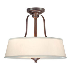Maremma 3 Light Semi Flush - Maremma has clean classic styling with a modern flair! This collection from Savoy House has a rich Expresso finish and cream shades. Weight: 14. 30 lbsFinish: EspressoBulb Wattage: 100Number of Bulbs: 3Type of Bulb: EBulbs Included: NoSafety Rating: UL, CULVoltage: 120
