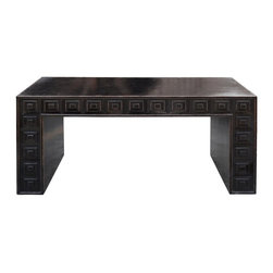 Golden Lotus - Rustic Black Color Solid Wood Ming Style Altar Table Desk - This is a unique rustic Ming style black color altar table. It is made of solid wood and has square carving on the front side.