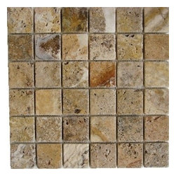 "Scabos Tumbled Mesh-Mounted Travertine Mosaic Tiles 2"" x 2"" - 2"" x 2"" Scabos Mesh-Mounted Travertine Mosaic Tile is a great way to enhance your decor with a traditional aesthetic touch. This Tumbled Mosaic Tile is constructed from durable, impervious Travertine material, comes in a smooth, unglazed finish and is suitable for installation on floors, walls and countertops in commercial and residential spaces such as bathrooms and kitchens."