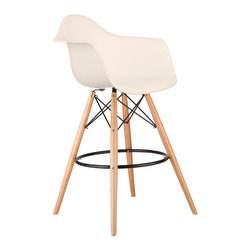 Barstool Arm Chair in Cream - Take iconic mid-century modern design to new heights. Inspired by the classic design aesthetic of our Montmarte Arm Chair, the Barstool Arm Chair offers stylish modern seating for your counter-height needs. The chair features a smooth polypropylene seat with a waterfall edge for added support. It also features natural wood dowel legs. We see this chair fitting in at the kitchen island, providing a comfortable seat for late night stacks or kitchen chatter. Available in a variety of vibrant colors, the chair will spruce up your décor without overpowering the room.