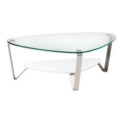 BDI - Small Dino Coffee Table-Gloss White - The Small Dino Coffee Table from BDI has a sleek and elegant design. The table has an organic and asymmetrical shape. The legs are made of steel and the table top is glass. The table legs converge to prop up a middle shelf. The shelf is available in 3 color options.