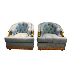 Hollywood Regency Velvet Tufted Club Chairs - This pair of stunning Hollywood Regency velvet tufted mercury club chairs in magic blue were made expressly for Richard Lee Furniture, Interior Design Associates in 1981.  Minor blemishes on the bottom rear of both chairs that are photographed.