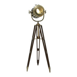 ecWorld - Hollywood Studio 6-Feet Director's Spotlight Tripod Floor Lamp - Antiqued Brass - A formidable and impressive piece, the Director's Spot Light is designed to bring Hollywood style and glamour to any room decor. The design features a handcrafted adjustable spotlight style head that can be positioned to direct light right where you need it. The tripod base is inspired by the British surveyor's three-leg stand. Imported.