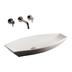 Whitehaus Collection - Whitehaus WHKN1086 White Ceramic Oval Above Mount Bathroom Sink Basin - Whitehaus Collection bathroom sinks are modern sleek and stylish. A great option for anyone that wants a unique and eye catching bathroom design!