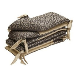Bananafish Charlotte Crib Bumper - Crib protection doesn't have to lose style points when you have the Bananafish Charlotte Crib Bumper. This bumper set features a double-sided pattern includes a stylish animal print on one side and solid brown design on the reverse. It's made with soft, natural cotton and is conveniently machine washable on cold. This cushioned bumper set includes with two short and two long sides that fit most crib rail formats. Its easy tie assembly makes installation a breeze.Dimensions: Short: 10W x 27.5L in.Long: 10W x 51.5L in.About BananafishBananafish was founded in 1997 and has grown to become a leading manufacturer of infant bedding and nursery décor. In 2007 Bananafish became part of the Betesh Group family. Bananafish has found success tapping into global design resources to bring the latest trends to their product lines. While on-trend, they still manage to balance a look that appeals to classic and contemporary tastes. You'll find Bananafish products featured in all the hot media, such as Pregnancy Magazine, American Baby, HGTV.com, OK Pregnancy and Newborn, and more. Luxurious comfort, superior quality, and style that lasts, Bananafish will help you create a nursery that delights.