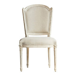 Eloquence - Flins French Country Antique White Fog Linen Dining Vanity Chair - A clean, classic Scandinavian chair gets a French makeover with a Gesso finish and light grey linen upholstery. Delicately carved rosettes add distinctive detail to the distressed legs. The seat is beautifully versatile in the dining room, living room or bedroom.