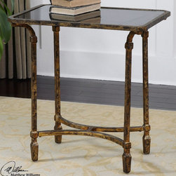 """Uttermost - Zion Metal End Table - Artisan-forged Iron With Cast Iron Details In Heavily Tarnished Gold Leaf, Inset With Sleek, Black Tempered Glass Top. Uttermost's Accent Tables Combine Premium Quality Materials With Unique High-style Design. Bulbs included?: NO; Overall Dimensions: 17.125""""D x 25""""W x 26""""H"""
