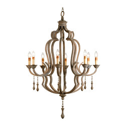 Kathy Kuo Home - Normandy Large French Wood 8 Light Washed Gray Chandelier - Taking inspiration from the traditions of French wood chandeliers, this beautifully finished piece, crafted from wrought iron and bent wood delivers an effortless French Country lighting effect into any space.  A slightly aged finish, and gracefully turned wooded droplet pendants complete the picture.