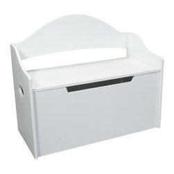 """Gift Mark - Gift Mark Toy Chest with Bench White - The Gift Mark toy & storage box is classically designed. This attractive toy box has a multi-function in any child's room. It can be used for years to come. First for toys, games and puzzles, then for clothes, and linens. The top lid has a special safety hinge that supports the lid to prevent accidental closures. The front of the toy box has been designed with """"safety cut-outs"""" to prevent little fingers from getting pinched"""