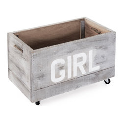 Kathy Kuo Home - Industrial Loft Style Antique White Painted Storage Box on Casters - GIRL - This antique whitewashed storage cart is perfect for a baby girl's room, playroom or industrial-style space. Mounted on casters for easy mobility, this sturdy crate holds crafting supplies, toys or any small household objects. Constructed from reclaimed wood, the distressed crate improves with age, like the girl who owns it.