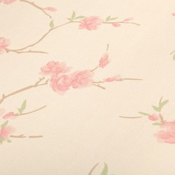 Wallpaper Worldwide - The Mood for Love - Flock Wallpaper, Red Peach, Cream - Material: Paper Backed. PVC.