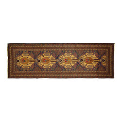 Manhattan Rugs - New Geometric European Navy Blue Balouch Runner 3x10 Hand Knotted Wool Rug P835 - This is a true hand knotted oriental rug. it is not hand tufted with backing, not hooked or machine made. our entire inventory is made of hand knotted rugs. (all we do is hand knotted)