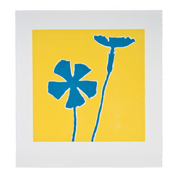 Dodge Blue Wildflower - Original Linocut Print - The blue flower pops on a bright yellow background. This linocut print will bring any room to life and the series is available in various colors and sizes.