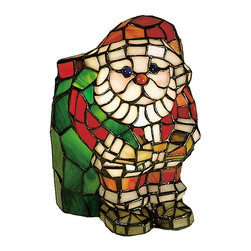 Meyda Tiffany - Santa Claus Accent Lamp - Requires one 15 watts candelabra type bulb. Stained art glass with winter white and jewel accents. Flame ca green color. 6 in. L x 7 in. W x 9 in. H. Care InstructionsThis festive holiday Santa accent lamp, crafted of holiday red and green will put you in the spirit of the season. Every Meyda tiffany item is a unique, handcrafted work of art. Natural variations, in the wide array of materials that we use to create each Meyda product, make every item a masterpiece of its own.