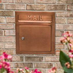 """Recessed Copper Locking Mailbox - The Recessed Copper Locking Mailbox is designed to be recess mounted into a wall, column or post, providing added security and space efficiency. This piece features a """"MAIL"""" imprint on the front, a large incoming mail slot and an oversized mail compartment."""