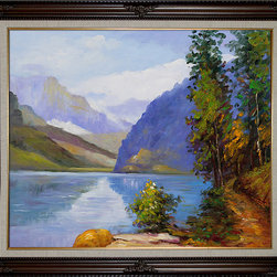 """overstockArt.com - Potthast - Lake Louise, British Columbia Oil Painting - 20"""" x 24"""" Oil Painting On Canvas This is a remarkable oil painting with exceptional use of color, detail and brush strokes. Edward Potthast was among the best of the American Impressionist painters, popular and successful, who was strongly influenced by French Impressionism. Born on June 10, 1857 in Cincinnati, Ohio his paintings avoid complex emotions and instead depict happy carefree moments. This oil painting shows nature in all her grandure with tall trees and calm waters all the way back to the towering mountains. This painting is sure to bring many admirers."""