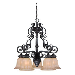 Jeremiah Lighting - 5 Light Down Chandelier - The La Grange family is truly a classic Mediterranean style with its heavy scrolled metal frame and turned wood center column. This family of Lights is finished in a Seville Iron, a blend of a dark bronze with subtle gold accents added to coordinate with many of today's interiors. The glass shading makes the difference with a very slight amber tone etching on a large bell shaped fluted shade.