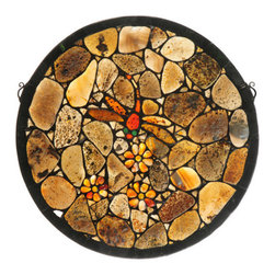"""Meyda Tiffany - Meyda 20""""W x 20""""H Dragonfly Agata Window - This unique decorative window was inspired by one of Tiffany Studio's most beloved designs, but with a twist. Using hand-picked Agate as a medium, this window is a showstopper. A stunning Red and Amber Agate Dragonfly with Green jeweled eyes swirls around a bunch of Creamy Tangerine Agate flowers. Beige, Gray, Brown and Cream colored Agates create the backdrop. The window is complemented with a border crafted of Black Jadestone. The window includes hanging chains."""