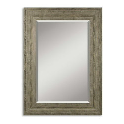 "Uttermost - Uttermost 11217 B  Hallmar Wood Mirror - This solid wood frame features a lightly distressed silver leaf finish with black undertones and light gray glaze. mirror has a generous 1 1/4"" bevel. may be hung either horizontal or vertical."
