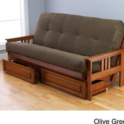 None - Beli Mont Multi-Flex Honey Oak Futon Set - This Beli Mont full-size futon set comes with a mattress,frame,and drawers. The bed features a lovely honey oak finish,and you have the choice of an olive or peat mattress. The mattress is 8-inches thick and filled with cotton for a cozy feel.