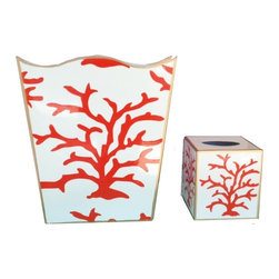 Coral Coral  Wastebasket and Tissue Box - Hand Painted Tole, Metal