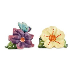 Fitz And Floyd - Fitz and Floyd Courtyard Salt and Pepper Shakers - Beautiful colors and whimsical design join forces in the Fitz and Floyd Courtyard tabletop collection. These sweet salt and pepper shakers look just like two flowers with a butterfly perched on the purple one.
