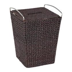 CreativeWare Home - Metro Espresso Finish Hamper with Liner - 16.5 in. W x 26.5 in. H x 16.5 in. D. Lid included. Removable liner. Rich blend of natural fibers. Stainless steel handles. Espresso Finish