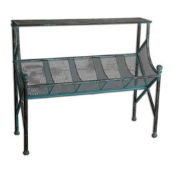 Uttermost - Generosa Iron Bookshelf Table - In your kitchen, master bath or living room, this bookshelf table has one thing you cannot get too much of — storage. The distressed forged iron frame has a turquoise crackle with black undertones making it look as though it's been in your family for generations.