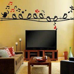 ColorfulHall Co., LTD - Bird Wall Decals 9 Singing Birds with Music Notes Wall Art - You will find hundreds of affordable peel - and - stick wall decal designs, suitable for all kinds of tastes and every room in your house, including a children's movie theme, characters, sports, romantic, and home decor designs from country to urban chic. Different from traditional decals, vinyl wall decals is with low adhesive that allows you to reposition as often as you like without damaging the paint. Application is easy: peel offer the pre-cut elements on the design with a transfer film, and then apply it to your wall. Brighten your walls and add flair to your room is just as easy.