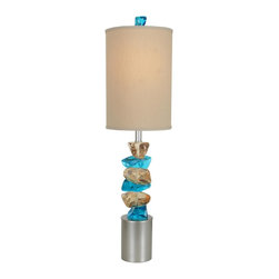 "Van Teal - Contemporary Van Teal Rocky Road Autumn Wood Silver Table Lamp - Colorful modern table lamp. Wheat and teal acrylic stacked ""stones"". Autumn wood silver finish base. Hardback tan Anna linen shade. Acrylic and metal construction. Round base. Standard socket switch. Takes one maximum 150 watt or equivalent 3-way bulb (not included). 37"" high. Shade is 10"" wide and 15"" high. Includes 8' cord.    Colorful modern table lamp.  Wheat and teal acrylic stacked ""stones"".  Autumn wood silver finish base.  Hardback tan Anna linen shade.  Acrylic and metal construction.  Round base.  Standard socket switch.  Tall table lamp design.  Takes one maximum 150 watt or equivalent 3-way bulb (not included).  By Van Teal Lighting.  37"" high.  Shade is 10"" wide and 15"" high.  Includes 8' cord."