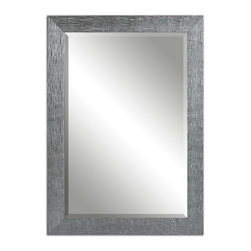 Uttermost - Uttermost 14604  Tarek Silver Mirror - Frame has a textured, silver finish with a light gray glaze. mirror is beveled. may be hung horizontal or vertical.