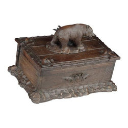 EuroLux Home - Box Mountain Bear Cast Resin Hinged Lid - Product Details