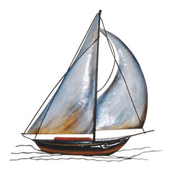 """Wall Hanging Metal Sailboat - The wall hanging sailboat measures 25.5"""" x 25"""". It is made of metal. It will add a definite nautical touch to wherever it is placed and is a must have for those who appreciate high quality nautical decor. It makes a great gift, impressive decoration and will be admired by all those who love the sea."""