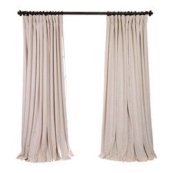 Exclusive Fabrics & Furnishings, LLC - Signature Ivory Doublewide Blackout Velvet Curtain (Single Panel Only) - 100% Poly Velvet. 3 Pole Pocket. Plush Blackout Lining . Imported. Dry Clean Only.