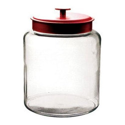 Anchor Hocking - 2gal Montana Jar w Red Cover - 2 Gallon Montana Jar with Red Metal Cover, Clear.